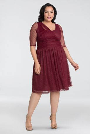 Short Dotted Stretch Mesh A-Line Plus Size Dress