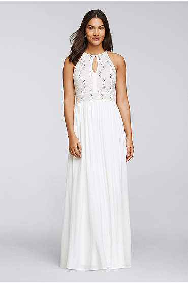 Long Halter Dress with Glitter Lace Bodice