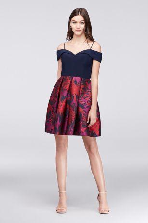 Short Ballgown Off the Shoulder Dress - Morgan and Co