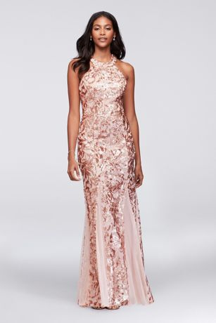 Glitter Lace And Jersey High Neck Gown With Godets David