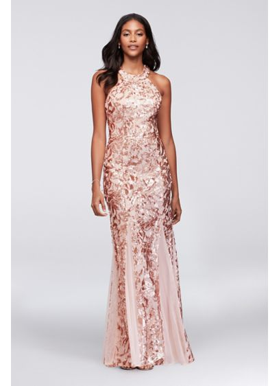 Glitter Lace And Jersey High Neck A Line Gown Davids Bridal