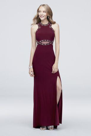 Jersey Beaded Illusion Sheath Dress