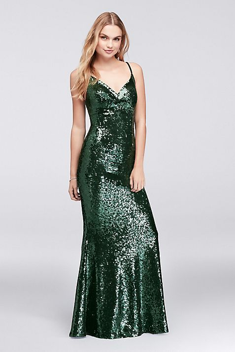 Allover Sequined Sheath Gown with Back Strap | David\'s Bridal