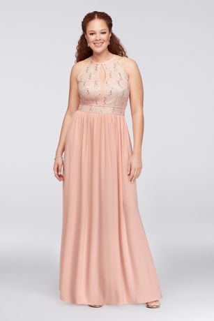 37313051176 Long A-Line Halter Dress - Nightway · Nightway. Lace Tie Back Keyhole  Halter Plus Size Dress