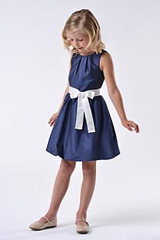 Taffeta Flower Girl Dress with Bubble Hem