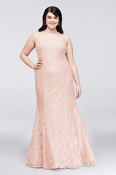 Strappy Back Glitter Lace Plus Size Mermaid Gown | David\'s Bridal