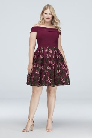 Short A-Line Off the Shoulder Dress - Morgan and Co