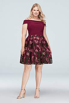 Short A-Line Off the Shoulder Cocktail and Party Dress - Morgan and Co