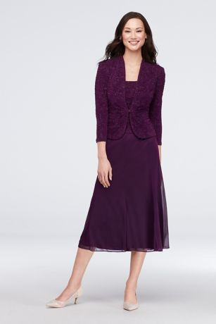 52b09733984b0 Tea Length A-Line Jacket Dress - Alex Evenings