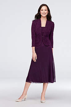Tea Length A-Line Jacket Cocktail and Party Dress - Alex Evenings