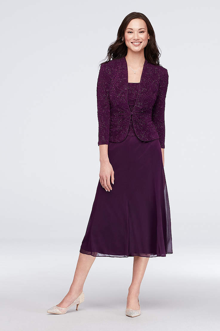 0f07f7a68d32 Tea Length A-Line Jacket Dress - Alex Evenings