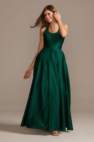 Satin Racerback Ball Gown with Cutout
