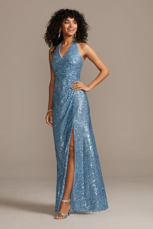 Sequin Halter Dress with Side Ruching and Slit