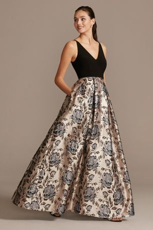 V-Neck Ball Gown with Floral Jacquard Skirt