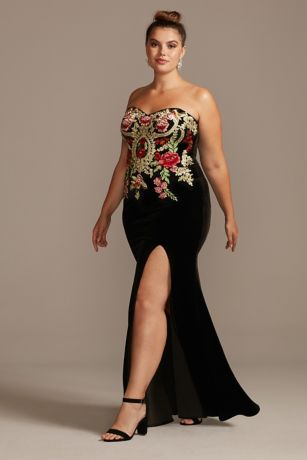 Floral Embroidered Velvet Strapless Plus Size Gown