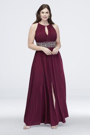 Keyhole Beaded Waist Sleeveless Plus Size Dress