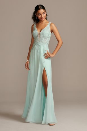 Corded Lace Embellishment Plunging Chiffon Gown