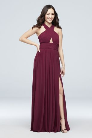 Long A-Line Halter Dress -