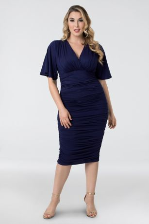 Short Sheath Elbow Sleeves Dress - Kiyonna