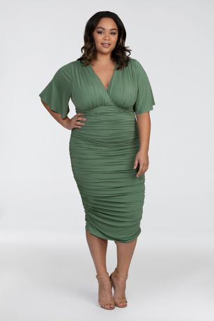 Short Sheath Elbow Sleeves Dress - Kiyonna