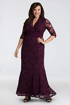 Lace Plus Size Gown with Siren V-Neck