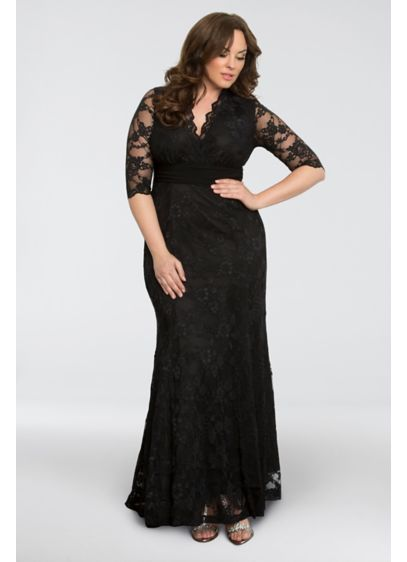 Screen Siren V Neck Lace Plus Size Gown Davids Bridal