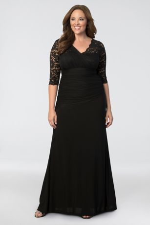 908862c3d85 Long Sheath 3 4 Sleeves Dress - Kiyonna · Kiyonna. Soiree Plus Size Evening  Gown