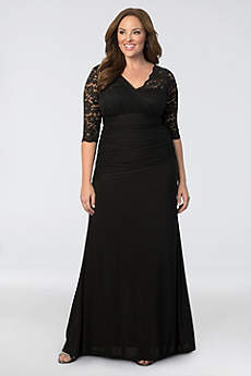 Long Sheath 3 4 Sleeves Formal Dresses Dress Kiyonna Soiree Plus Size Evening Gown
