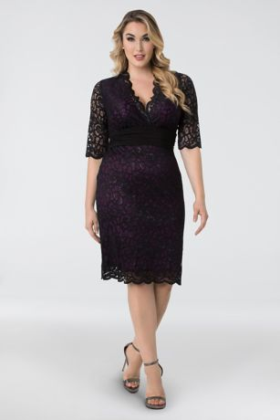 31ac9890f15 Short Sheath 3 4 Sleeves Dress - Kiyonna · Kiyonna. Lumiere Lace Plus Size  Cocktail Dress