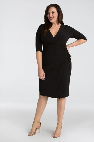 Short Sheath 3/4 Sleeves Dress - Kiyonna