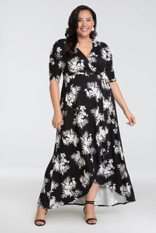 High Low 3/4 Sleeves Dress - Kiyonna