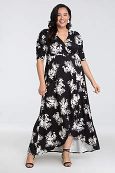 High Low 3/4 Sleeves Cocktail and Party Dress - Kiyonna