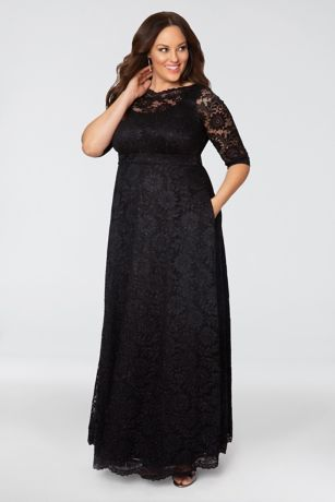 Long A-Line 3/4 Sleeves Dress -