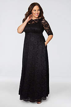 Long A-Line 3/4 Sleeves Formal Dresses Dress - Kiyonna