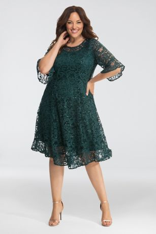 Tea Length A-Line 3/4 Sleeves Dress - Kiyonna