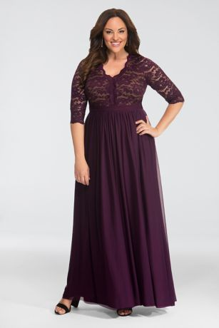 Long 3/4 Sleeves Dress - Kiyonna