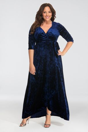 ff01f5e91d Long A-Line 3 4 Sleeves Dress - Kiyonna · Kiyonna. Cara Velvet Plus Size ...
