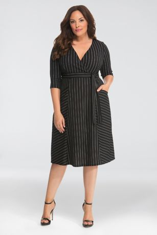 Tea Length 3/4 Sleeves Dress - Kiyonna