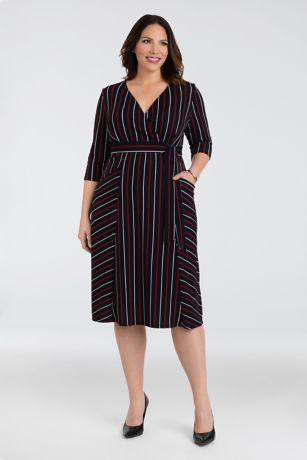 Tea Length 3/4 Sleeves Dress - Kiyonna