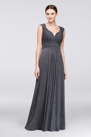 Glitter Mesh A-Line Gown with Pleated Bodice