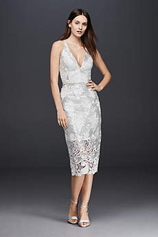 Short Sheath Beach Wedding Dress - Dress the Population