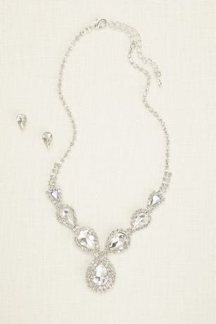 Pear and Pave Rhinestone Necklace and Earring Set