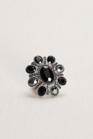 Black Floral Faceted Stretch Ring