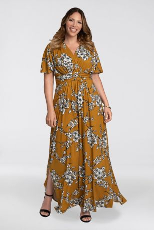 Long A-Line Short Sleeves Dress - Kiyonna