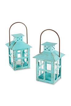 Vintage Blue Lantern Tea Light Holder