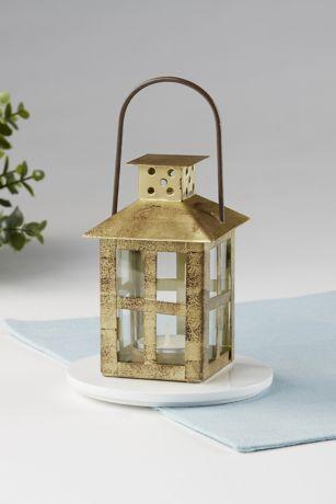Distressed Gold Window Lantern Set
