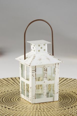 Distressed White Window Lantern Set