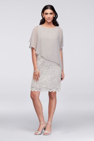 Short Sheath Capelet Dress - Ronni Nicole