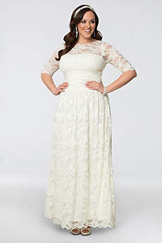 Short Sheath Boho Wedding Dress - Kiyonna