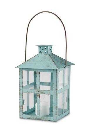 Vintage Blue Distressed Lantern - Large